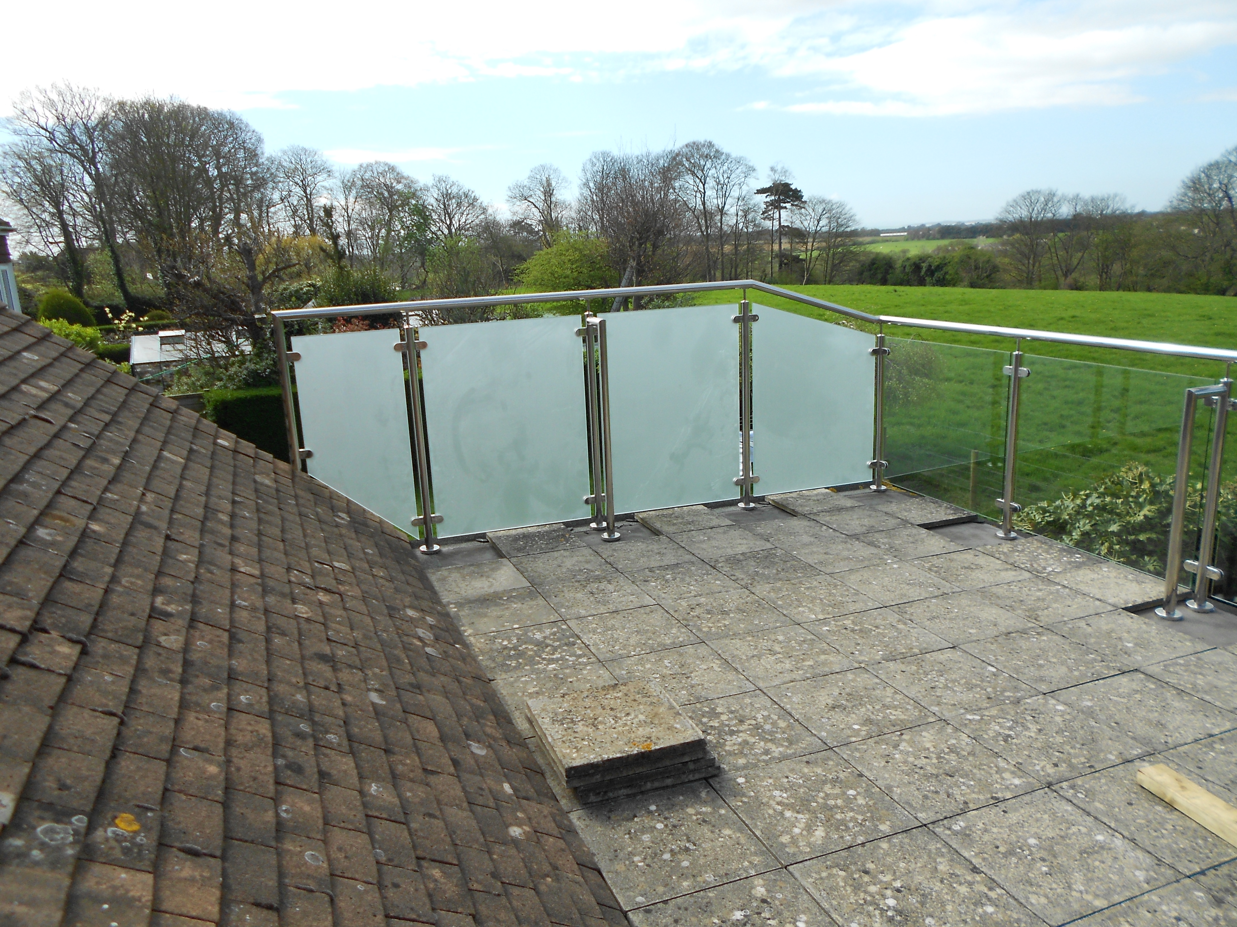 Stainless Steel and Frosted Glass Balustrade